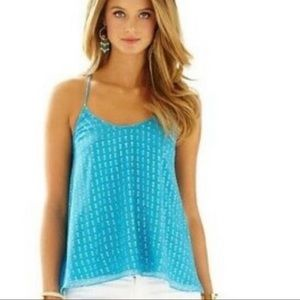 LILLY PULITZER Teal and Gold Cami Top